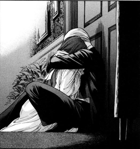 Their reunion, a black and white sketch of them embracing against a door
