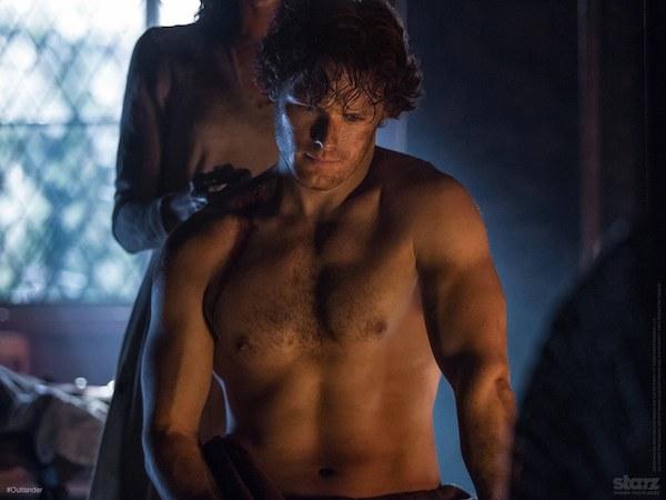 Jamie- shirt off, in firelight. It's pretty.