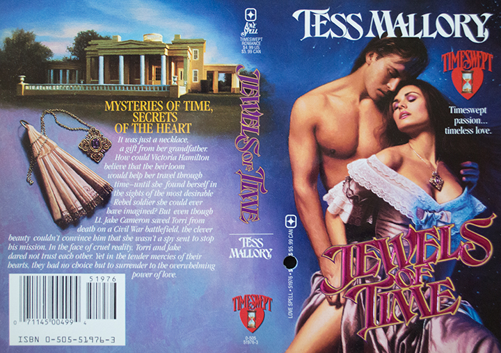 The Jewels of Time - a man and woman in a back-to-front embrace he has no shirt of course with a scatter of accessories on the back cover with a plantation home in the background
