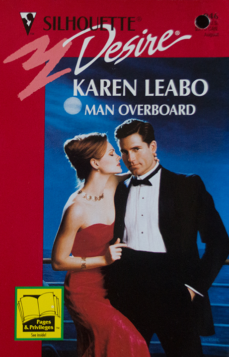 Man Overboard - a man and woman in upscale clothing very 80s - he's looking at reader with one hand in his pocket