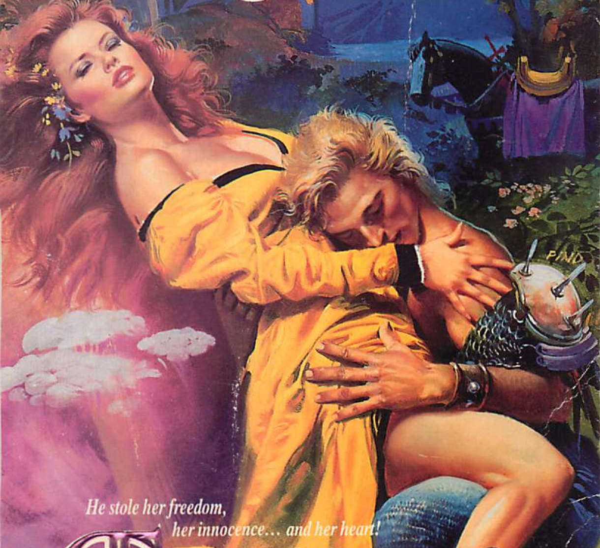 A red headed woman wearing purple eyeshadow eyes half closed reclined at an impossible angle over the pink cloudy jellyfish things while a guy wearing a shoulder spike is doing something angsty in her lap judging by his facial expression