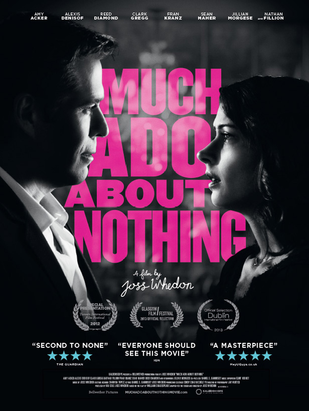 Much Ado About Nothing Poster: the lead actors are facing each other in black and white and the text is between them in pink