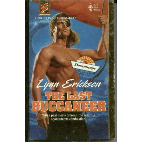 old cover for The Last buccaneer. Hero is wearing eyepatch, sneering down at reader and his nipple is pointed straight at the reader, too.