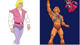Prince Adam from HeMan, in pink vest and purple furry mankini and leggings