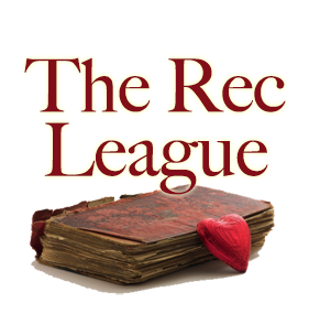 The Rec League - a tattered book with a heart leaning on it. Not the best graphic for this series but whatever