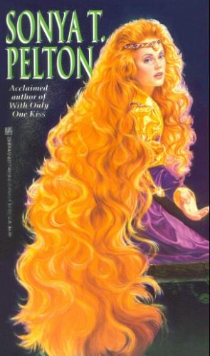 Sonya Pelton - Secret Jewel - a woman with bright red curly huge clouds of hair that go all the way down her back past the bench she's sitting on to the floor