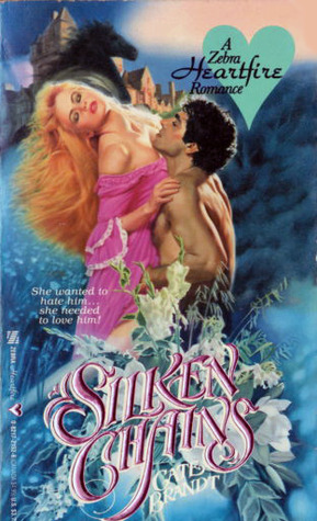 Silken chains features a redheaded woman in a hot pink gown yikes with her head back like her neck is broken and a dude half asleep on her bosom.