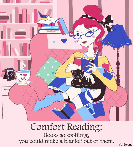 Comfort Reading  books so soothing you could make a blanket out of them illustrated with the same woman from the first illustration with a blanket made of books on her lap