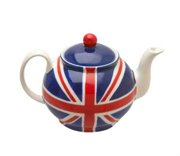 Teapot with Union Jack flag glazed on to side