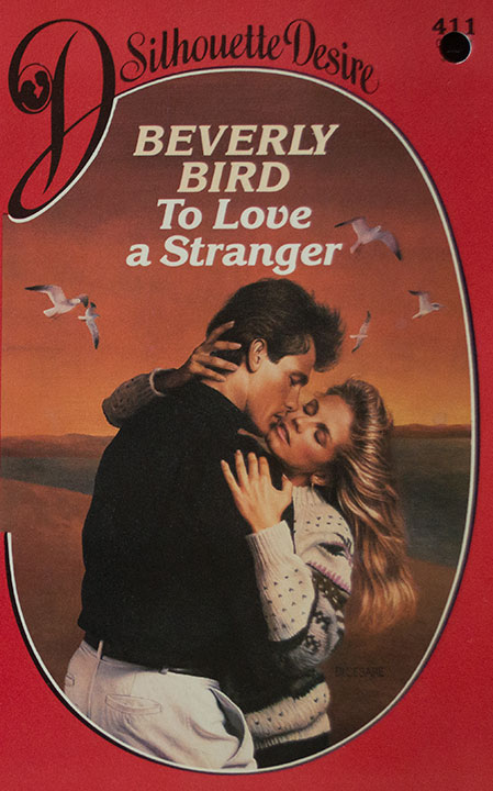 To Love a Stranger by Beverly Bird They are embracing, he has a big ol bouffant in the front, she is wearing a printed sweater and yes there are birds around them